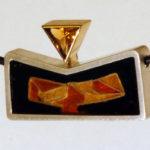 """Anhänger """"Keil"""": Silber, Gold, Zitrin, Emaille --- ohne Halsreif: 580,- €"""