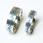 """2 Ringe """"blau opak X"""" : Silber, Emaille, Weiten 61 und 57 --- je 160,- €"""