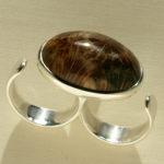 Doppelring: Silber, versteinerte Koralle, Weiten 62/65 --- 272,- €