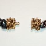 Kette: Silber vergoldet, schwarze Süßwasserperlen-geöffnet