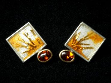 Silber, Gold, Emaille, Mandaringranat