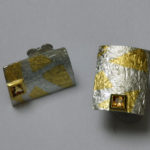 Ohrstecker: Silber, Gold, Spessartin-Granat --- Paar: 283,- €