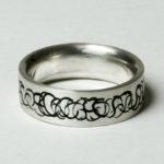 """Ring """"CS schwarz"""": Silber, Emaille, Weite 55 --- 160,- €"""