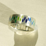 """Ring """"Navettes blaugrün"""": Silber, Emaille, 3 St. Weiten 58, 59 und 60 p. St. --- 180,-"""