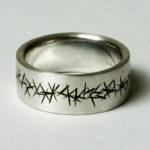 """Ring """"schwarz opak X"""" : Silber, Emaille, Weite 62 --- 160,- €"""