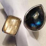 Ring: Silber, Labradorit, Rutilquarz, Weite 54 --- 282,- €