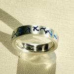 """Ring """"Wellen blau"""": Silber, Emaille, Weite 61 --- 180,- €"""